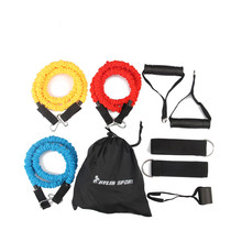 Купить с кэшбэком 9pcs woman resistance bands exercise set fitness tube yoga workout pilates for wholesale and free shipping kylin sport