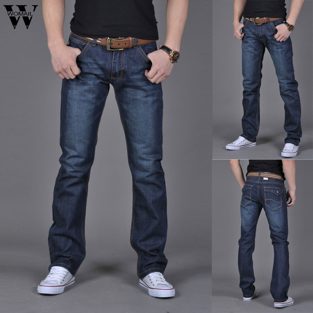 Womail pant Men Stretchy Ripped Skinny Jeans Pure Color Slim Fit Denim Vintage Denim Pants Zipper High Quality Jean J64(China)