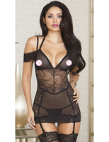 MOONIGHT New Promotion Sexy Underwear Women Sexy Lingerie With Lace Ladies Halter Transparent Lingerie Dress Erotic