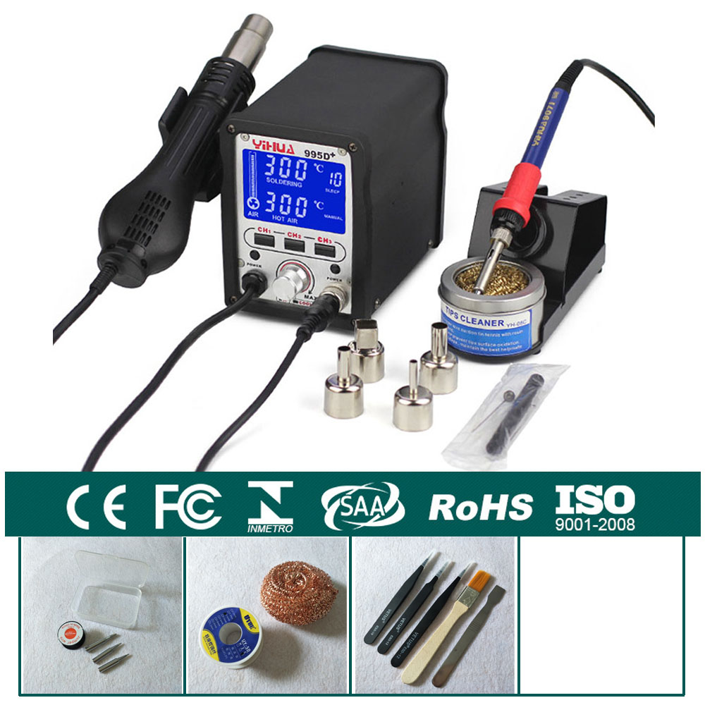 220V 2 in 1 Hot Air Rework Solder Soldering Station Heat Gun + Soldering Iron Motherboard Desoldering Welding Repair YIHUA 995D+ yihua soldering station 995d hot air gun soldering iron motherboard desoldering welding repair 110v 220v 2 in 1 electric iron