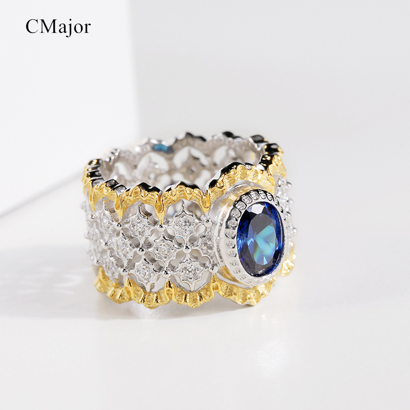 CMajor S925 Silver Jewelry Vintage Palace Hollow Flower Gold Color Fence Sides Blue Oval Stone All-match Rings For Women CMajor S925 Silver Jewelry Vintage Palace Hollow Flower Gold Color Fence Sides Blue Oval Stone All-match Rings For Women