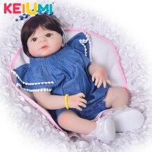 """Nuevo estilo 23 """"realistas Reborn bebé niña muñeca de vinilo de silicona Adorable bebé niña juguete vaquero mameluco chico regalo de Cumpleaños"""