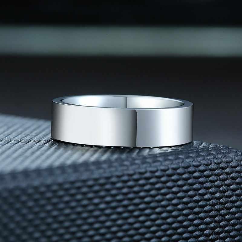 คลาสสิกเงินงานแต่งงานแหวนแบนสแตนเลสสตีลแหวนผู้หญิงผู้ชาย 6mm 8mm