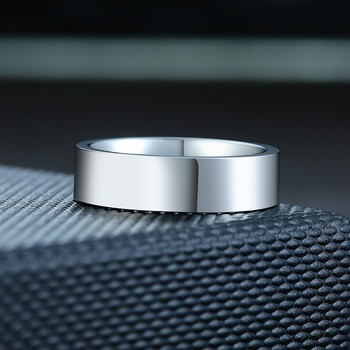 Classic silver color Wedding Ring Flat Top Stainless Steel Promise Ring For Women Men 6mm 8mm 2
