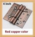 1 Par 4 pulgadas muebles bisagra bisagra bisagra bisagra de la puerta de color de cobre Rojo de pestañas de acero inoxidable