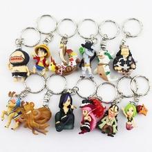 New 12pcs/lot One Piece Luffy Chopper Sanji PVC Figure Toy Keychains Pendants 4cm Mini Toys Free Shipping