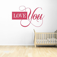 Love You Vinyl Wall Decal Quote Home Decor Word Art Valentine Heart Sticker