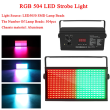 лучшая цена New 250W RGB 504 LED Disco Strobe Light For DJ Party Club Bar KTV Holiday Flash Auto DMX Sound-Activated Stage Lighting Effect