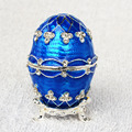2016 Easter blue faberge egg bejeweled jewelry crystal trinket box metal tabletop crafts birthday Gift for Her Christmas gifts