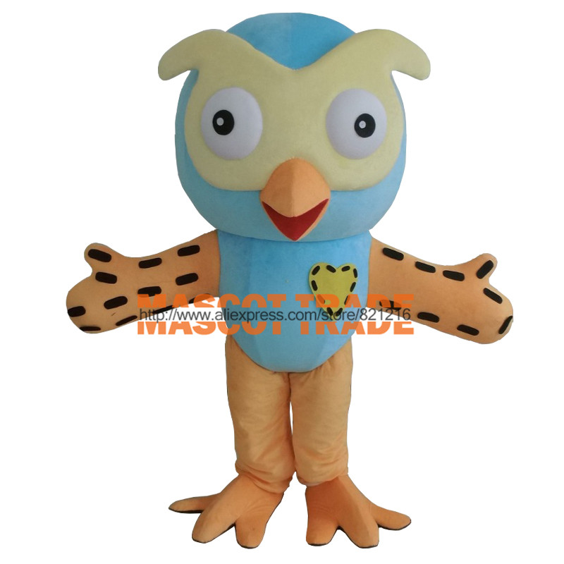 Hot Sale Professional New Style Big Blue Owl Mascot Costume Fancy Dress Adult Size