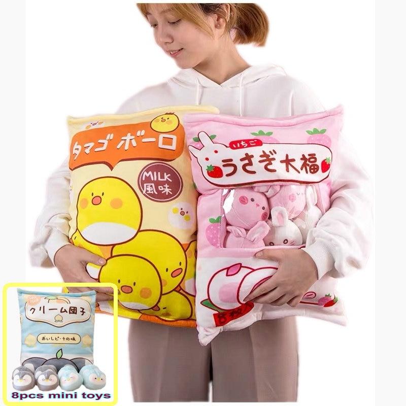 Um saco de 8 pçs mini pinguins brinquedo de pelúcia criativo jogar travesseiro de pelúcia animal de pelúcia urso marrom brinquedo da boneca de pudim para crianças aniversário da menina