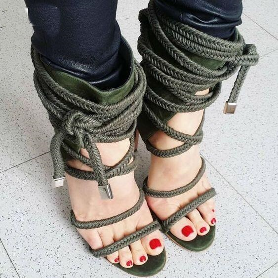 Drop Shipping Summer Women Army Green/Black/Beige Cross Lace Up Ropes Party Stiletto Heel Cover Heel High Heel Sandals Shoes free shipping 2017 summer fashion women s full grain leather party sandals high heel sweet cover heel handmade shoes for women