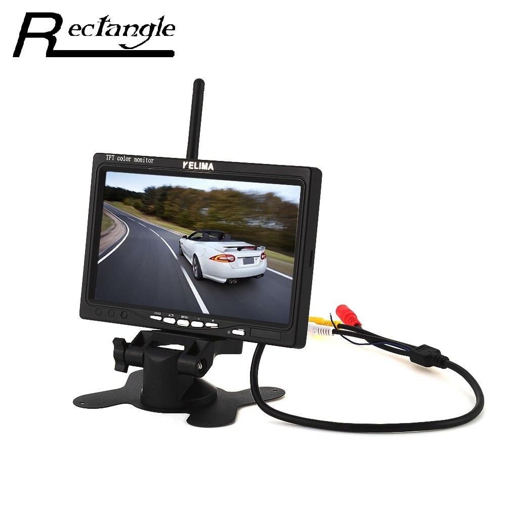 Универсальный 7-дюймовый беспроводной монитор автомобиля 120 градусов Водонепроницаемый светодиодный экран система Стоянкы автомобилей автомобиля Поддержка VCD DVD с GPS Камера заднего вида