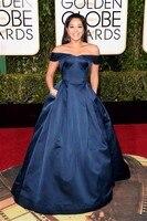 Темно-синий джина родригес 73-я золотой глобус красной ковровой дорожке платья off-плечи тафта знаменитости вечернее платье