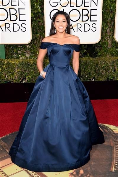 2e40d3a9617d Navy Blue Gina Rodriguez 73rd Golden Globe Awards Red Carpet Dresses Off  Shoulder Taffeta Celebrity Evening Dress