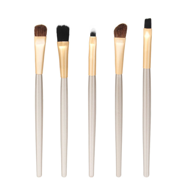 1Set 5PCS New Round Tube Set 5 colors Fashion Women Soft Cosmetics Eyeshadow Eyebrow Eyeliner Brush Holder Makeup Tool Makeup Brushes