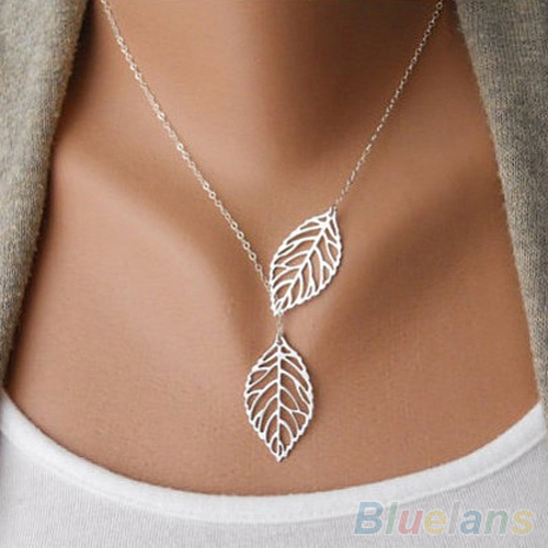 Simple 2 Leaves Choker Necklace  Collar Statement  Necklace Women Jewelry 1ORK