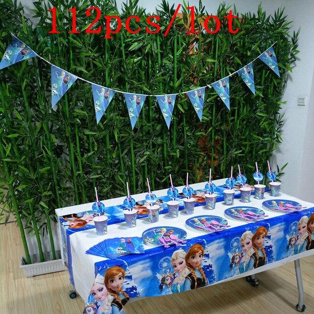 112Pcs Disney Frozen Elsa & Anna Disposable Tableware Sets Baby Shower Kid Birthday Party Decoration Wedding Celebration Supply