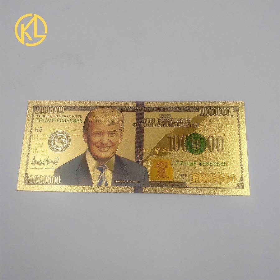 1 шт. 24-каратная Золотая фольга для банкнот доллар США Дональд Трамп металлические позолоченные пластиковые деньги для рождественских подарков и домашней коллекции