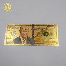 1 шт. 24-каратная Золотая фольга для банкнот доллар США Дональд Трамп металлические позолоченные пластиковые деньги для рождественских пода...