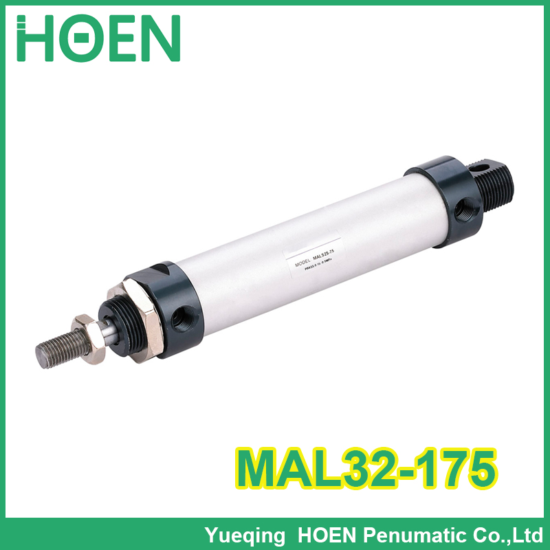 MAL32-175 High quality double acting pneumatic small cylinders aluminum alloy 32mm bore 175mm stroke mini air cylinder auminium alloy mini air cylinder mal32 175 bore 32mm stroke 175mm double acting pneumatic small cylinders
