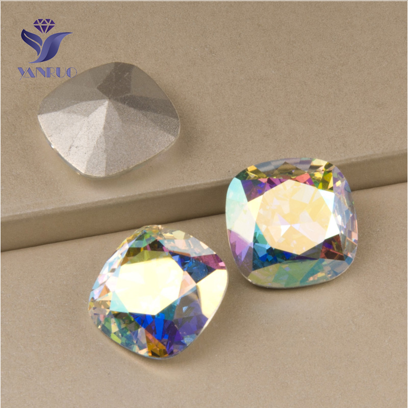 YANRUO  4470 All Sizes AB Cushion Cut Sew On Stones Pointed Back Crystal  Glass Rhinestone For Jewelry Making-in Rhinestones from Home   Garden on ... e9826b25e1af