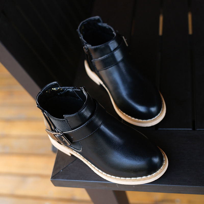 Autumn spring New Children 's leather shoes Girls British Style Boots Boy Fashion Martin Boots