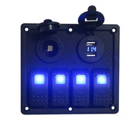 12v/24v Blue Led 4 Gang Rocker Switch Panel with Power outlet Socket and USB Charger Adapter Socket & Voltmeter Volt Gauge|Car Switches & Relays|Automobiles & Motorcycles -