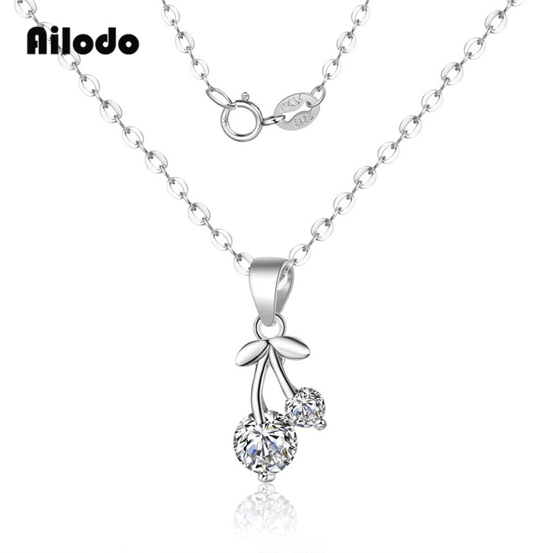 Ailodo 925 Sterling Silver Cherry Pendant Necklace For Women Short Link Chain Collares Bijoux Colier Fashion Jewelry Gift LD159 in Pendant Necklaces from Jewelry Accessories