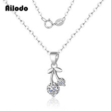 Ailodo 925 Sterling Silver Cherry Pendant Necklace For Women Short Link Chain Collares Bijoux Colier Fashion Jewelry Gift LD159