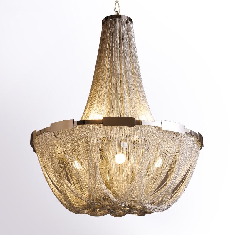 New Design Italy Tassel Pendant Light Silver Aluminum Chain Pendant Lamp Lamparas Lustre Led E14 Pendientes 10 Unique Lustre Pendant Hht5