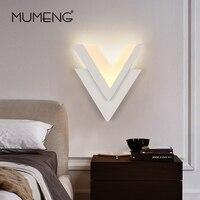 Mumeng Современная V Форма настенный светильник LED 6 Вт AC220V акрил бра Спальня Гостиная рядом с настенный свет дома освещение