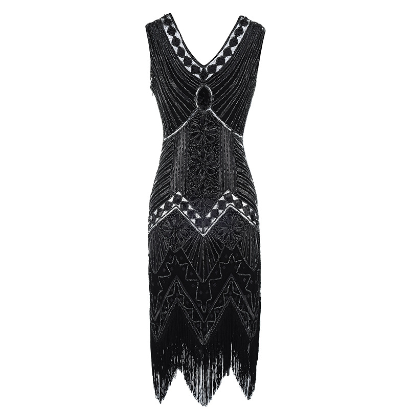 4232c345dfd2 Maniche A V Banda In Sequin Scollo Donne Grande Flapper Nero S Gatsby Club  D epoca 1920 Rilievo Oro Dress Abiti ...
