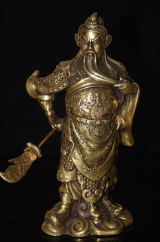 Rare Chinese Famous Warrior God Dragon Sword Brass Statue Sculpture wholesale factory Bronze Arts