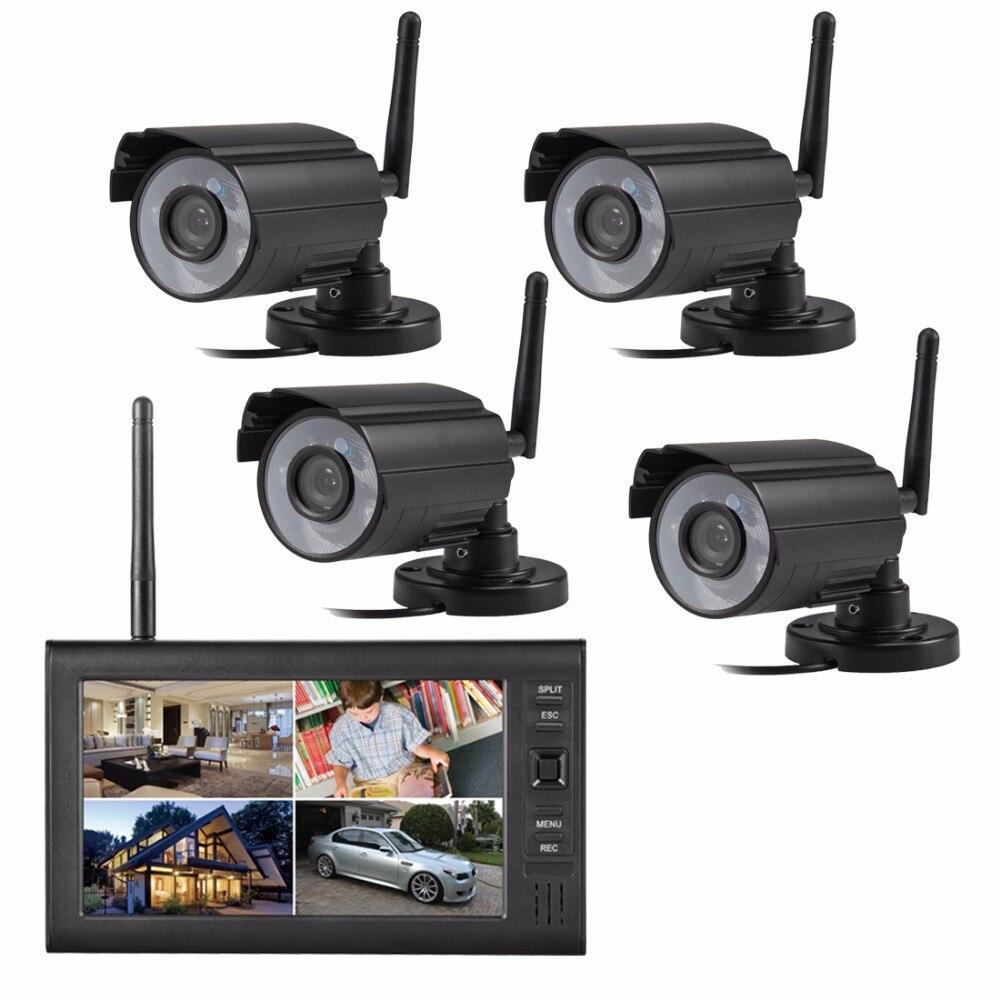 2,4 г цифровые беспроводные камеры с 7 дюймов ЖК дисплей интегрированный видеомагнитофон 4ch беспроводной монитор младенца системы видеонабл
