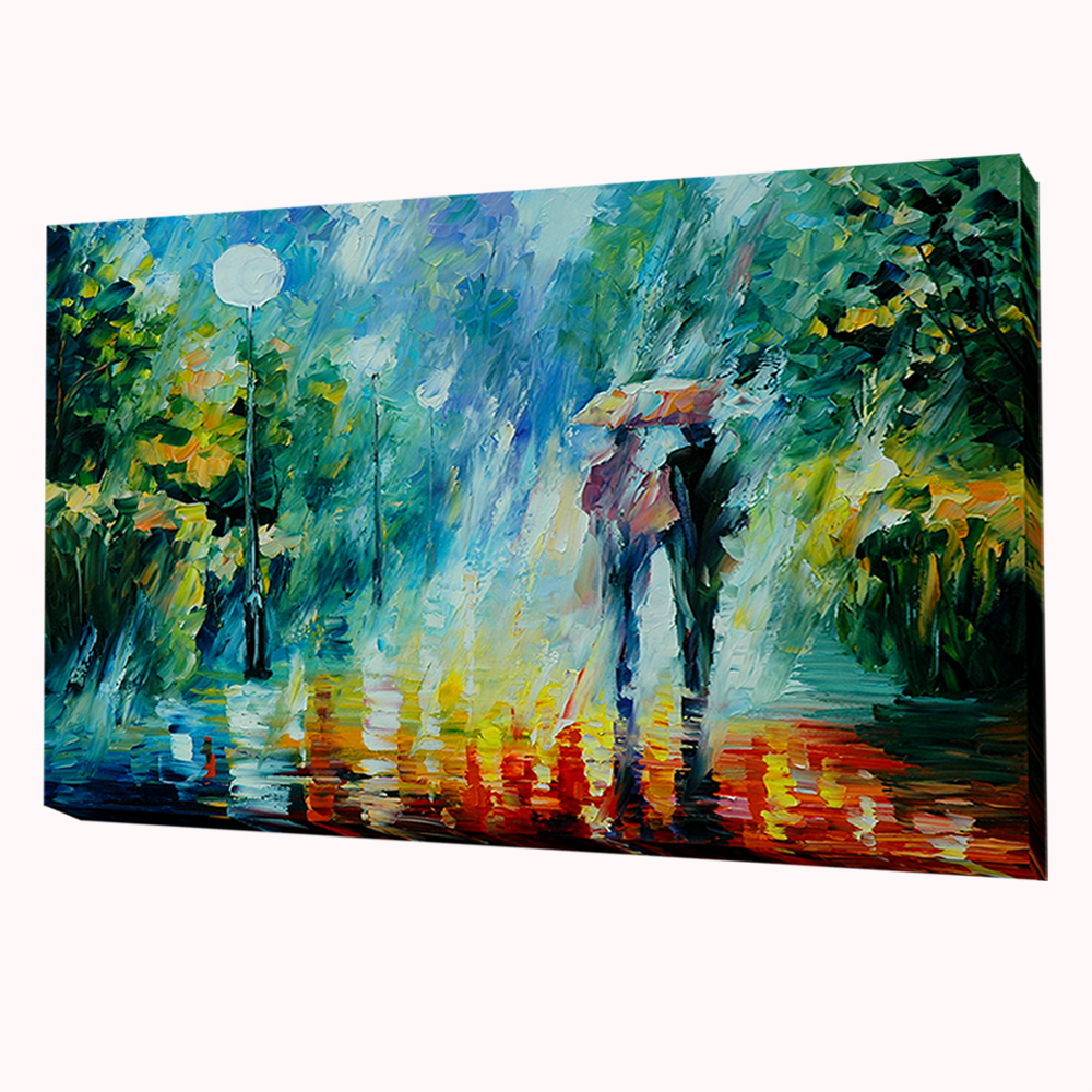 Unframed Two People Walking In The Rain 1 piece Wall Painting Art ...