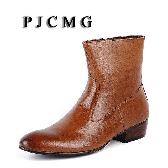 PJCMG yeni sonbahar/kış hakiki deri sivri burun inek derisi erkek Brogue düğün ofis ayak bileği kayma-On ayakkabı hombre çizmeler