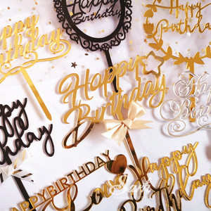 Image 2 - Gold Silver Black Acrylic Hand writing Happy Birthday Cake Topper Dessert Decoration for Birthday Party Lovely Gifts