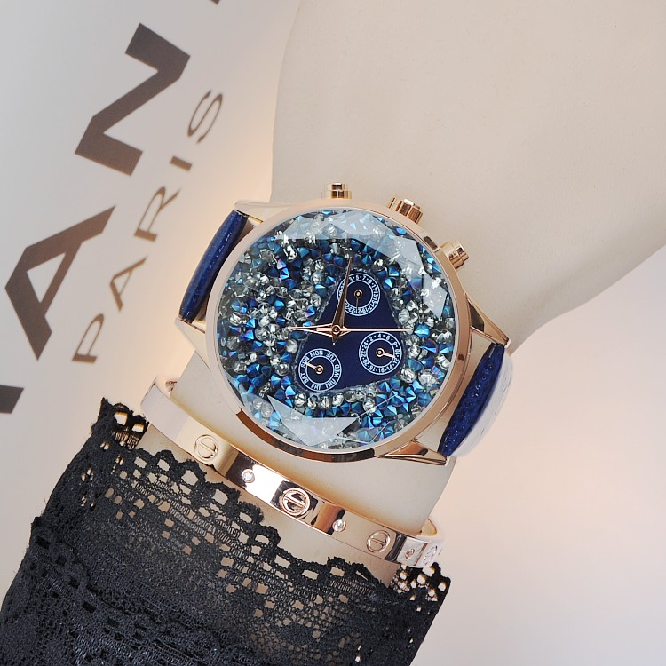 Women Famous Brand Luxury Full Crystal Romantic Sky Star Women Watch Charm Leather Band Dress Watch Rhinestone Bangle Bracelet new fashion famous bs brand full crytal women rose gold watch lady luxury diamond dress watch rhinestone bangle bracelet