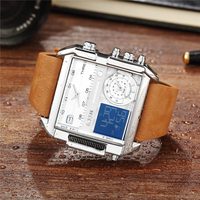 6 11 Multiple 3 Time Zone Quartz Watches Square Men Watch Mens Leather Led Wristwatch Waterproof