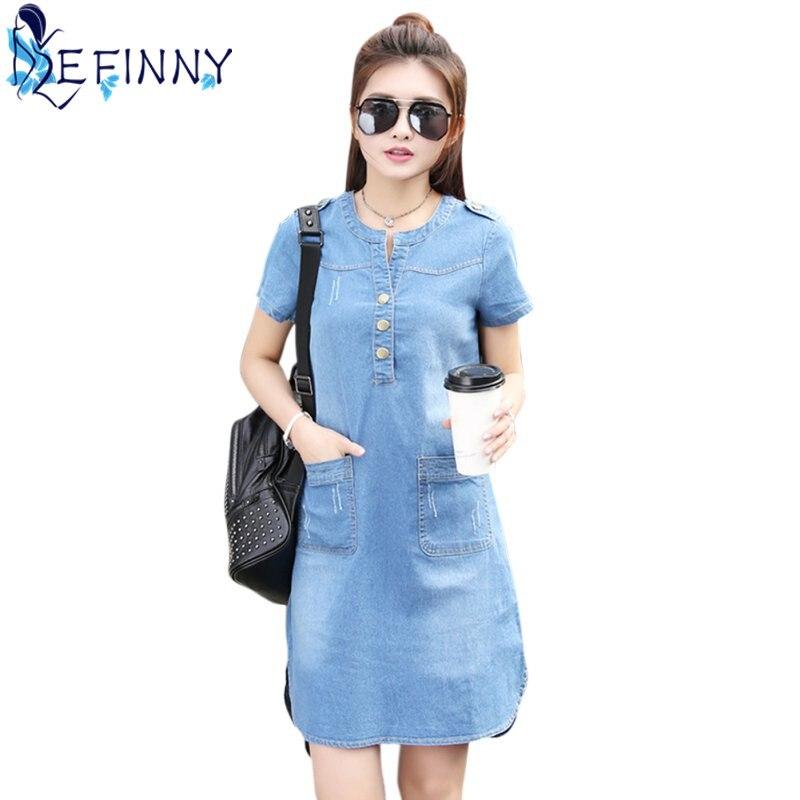 2018 Fashion Women O-neck Short Sleeve A Line Denim Dress Slim Casual Office Denim Jeans Dress Button Above Knee Vestidos Robe