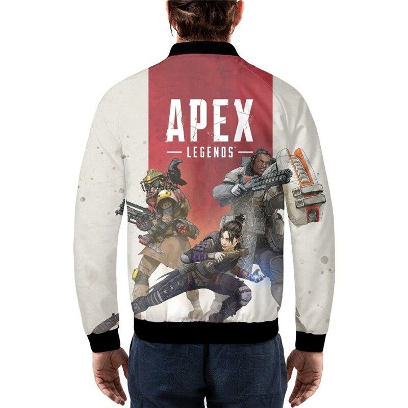 APEX légendes 3D imprimer veste drôle hommes Bomber vestes Baseball manteau Hip Pop hauts 2019 pardessus noël hommes vêtements