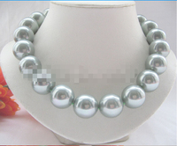 CBN362 Beautiful 18 18mm light green Gray perfect round south sea shell pearl necklace