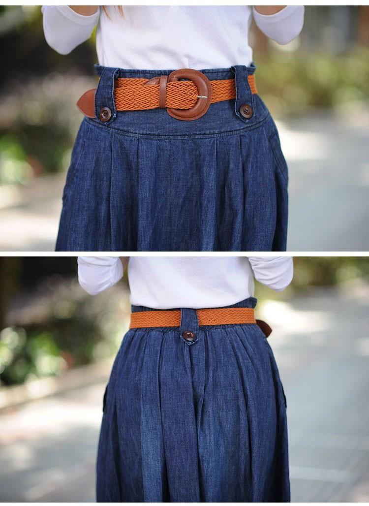 Ankle Length Long Denim Skirt