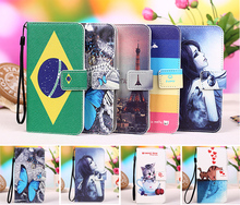 12 Colors Micromax q383 case Cartoon Painting Wallet Flip PU Leather Exclusive Cover case For Micromax Bolt Q383 +Tracking