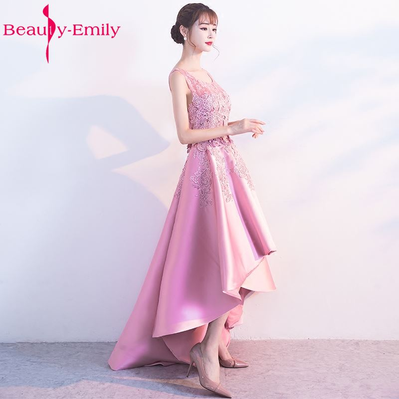 Beauty-Emily Pink Stain Lace   Bridesmaid     Dresses   2017 Asymmetrical Sleeveless Vestidos de baile Zipper O-Neck Wedding Occasion