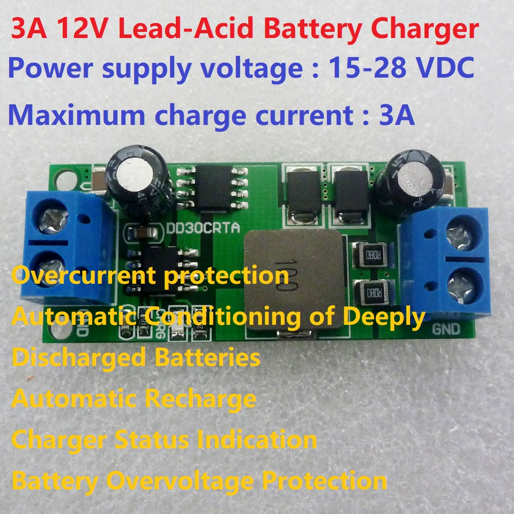 medium resolution of 3a 12v lead acid battery charger input 15 28v over charge 14 8v float charge 13 55v for ups car solar energy charging