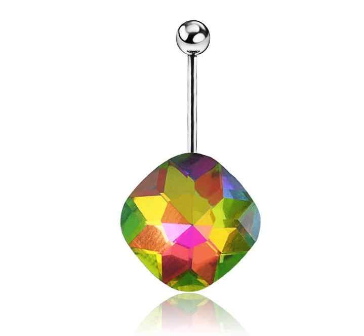 2016 חדש 1 יחידות טבור טבעת פירסינג תכשיטים להתנדנד Tetragonal קריסטל כירורגי פלדת ניקל משלוח 6 צבעים