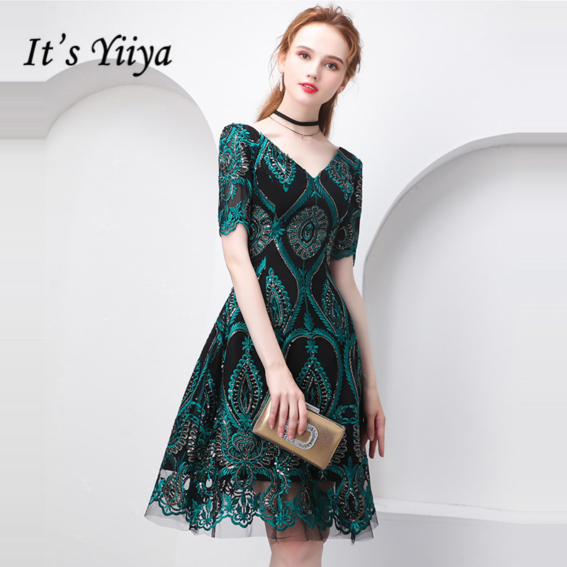 It's YiiYa Cocktail Dress Summer V-Neck Short Sleeve Bling Sequined Women Party Fashion Designer Short Cocktail Gowns LX1020