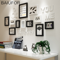 BAIUFOR Modern Black White Photo Frame Wooden Picture Frame Sets with Shelf Moldura Wall Paintings Living Room Home Decor